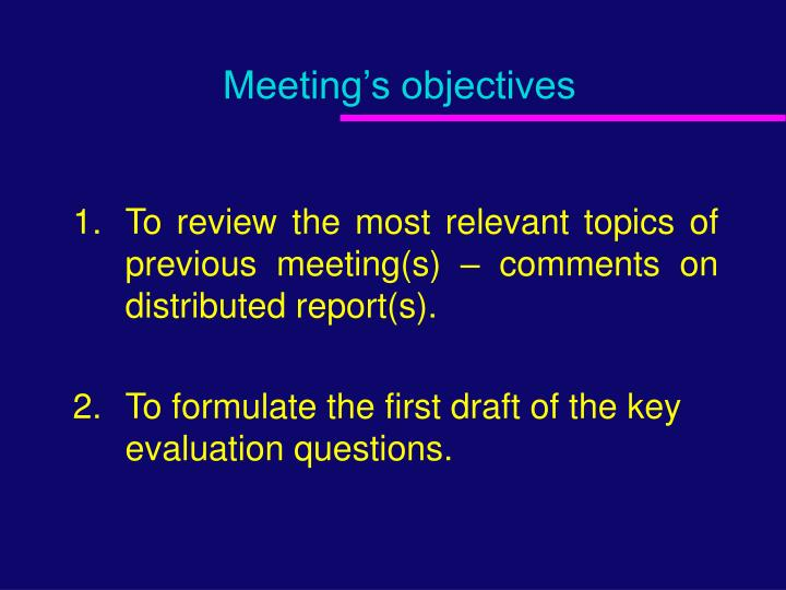 Meeting s objectives