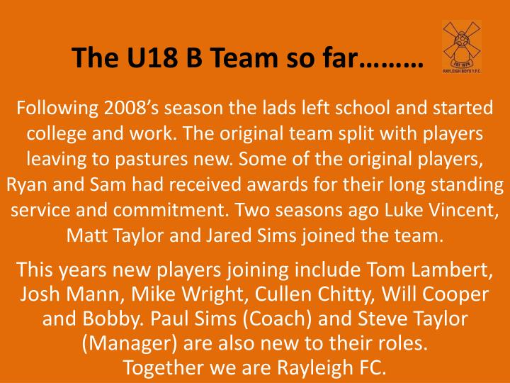 The U18 B Team so far………