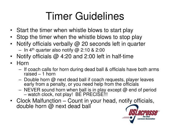 Timer Guidelines