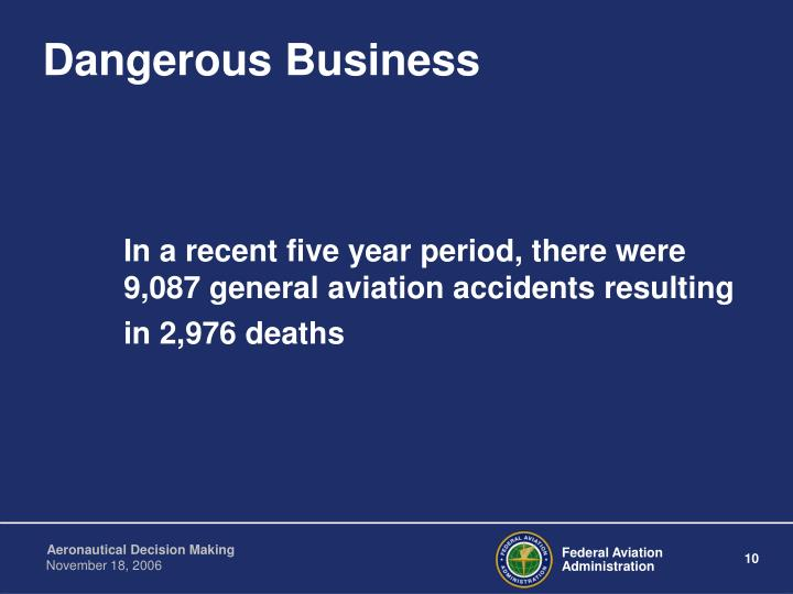 In a recent five year period, there were 9,087 general aviation accidents resulting in 2,976 deaths