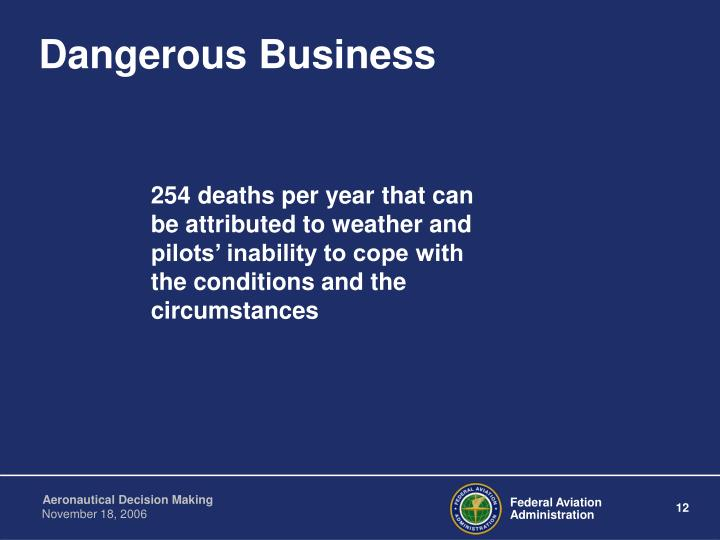 254 deaths per year that can be attributed to weather and pilots' inability to cope with the conditions and the circumstances