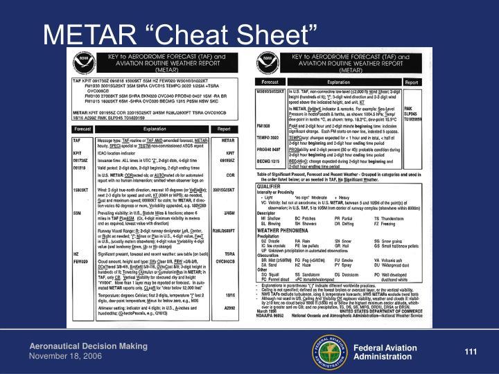 """METAR """"Cheat Sheet"""""""