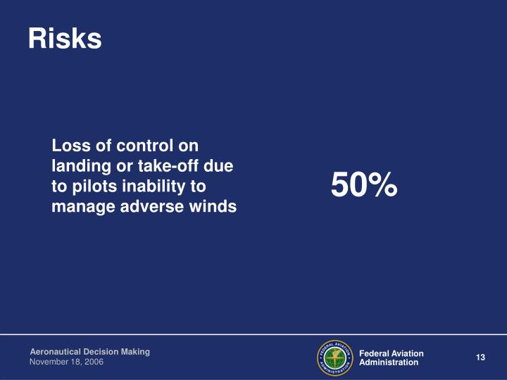 Loss of control on landing or take-off due to pilots inability to manage adverse winds