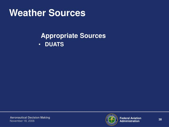 Weather Sources