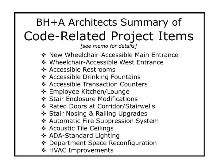BH+A Architects Summary of