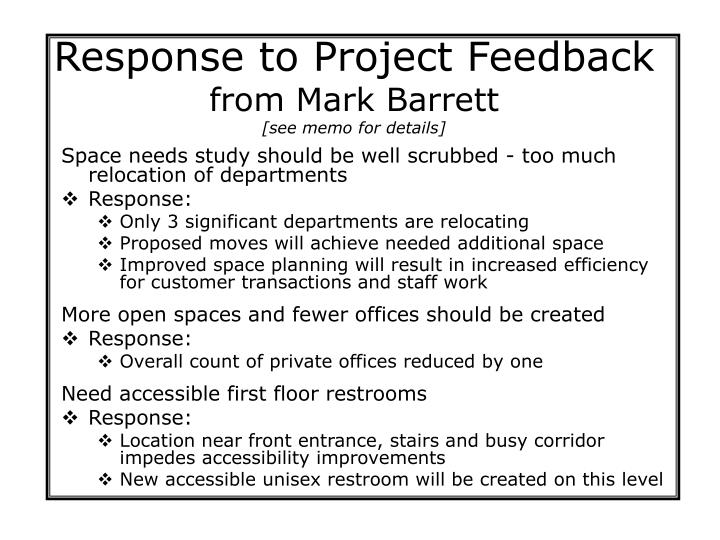 Response to Project Feedback