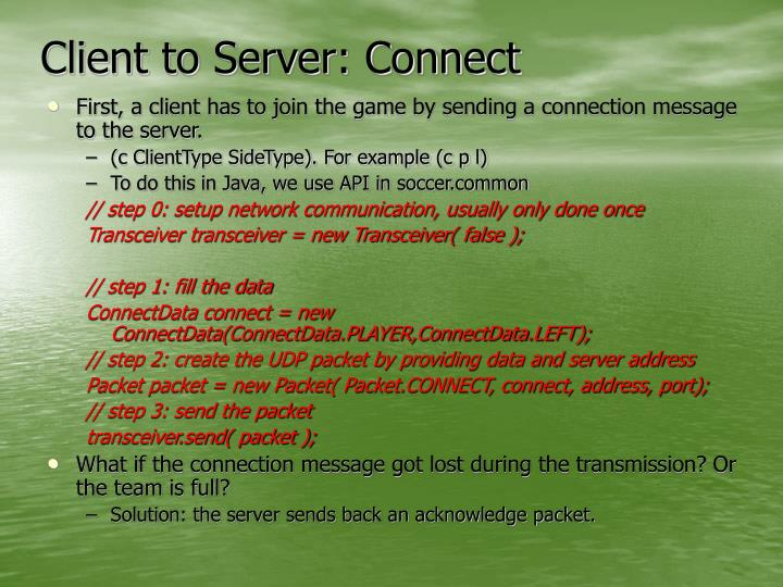Client to Server: Connect