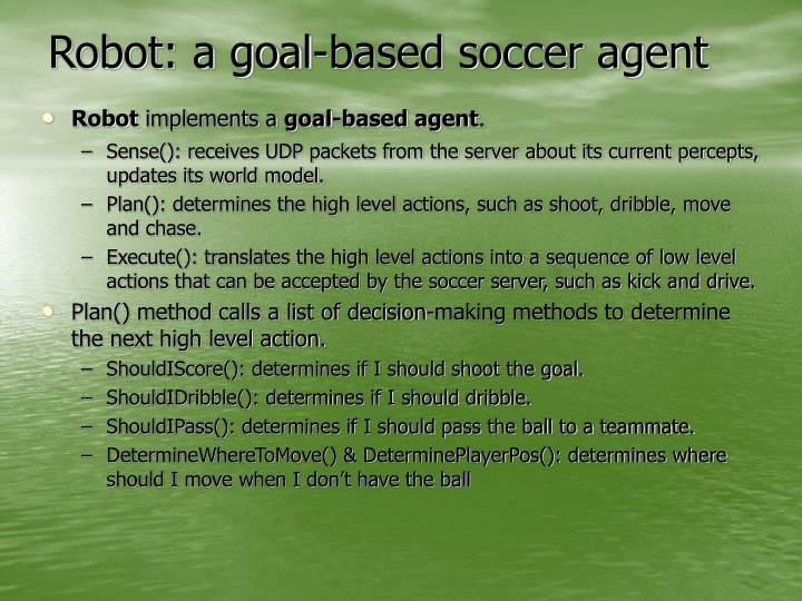 Robot: a goal-based soccer agent