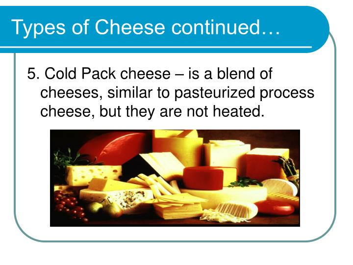 Types of Cheese continued…