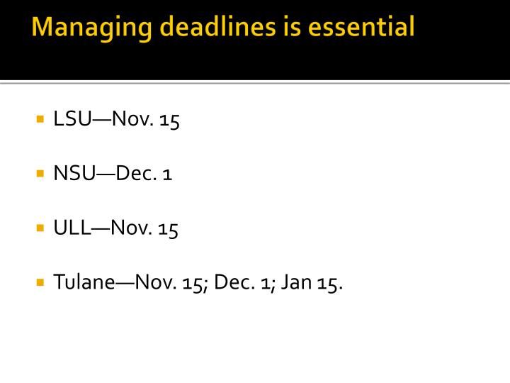 Managing deadlines is essential