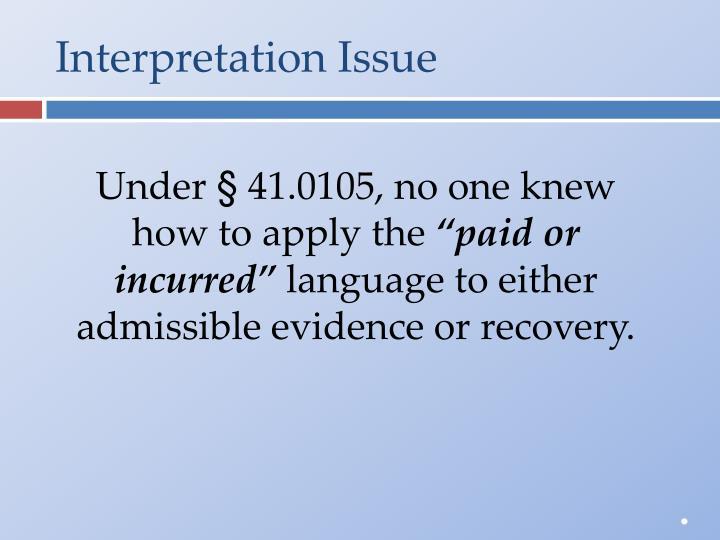 Interpretation Issue