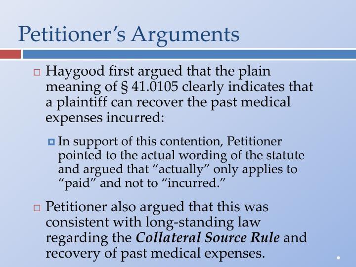 Petitioner's Arguments