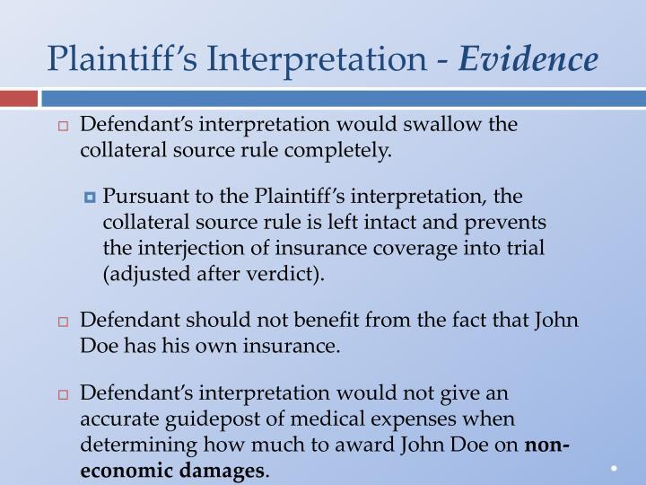Plaintiff's Interpretation -