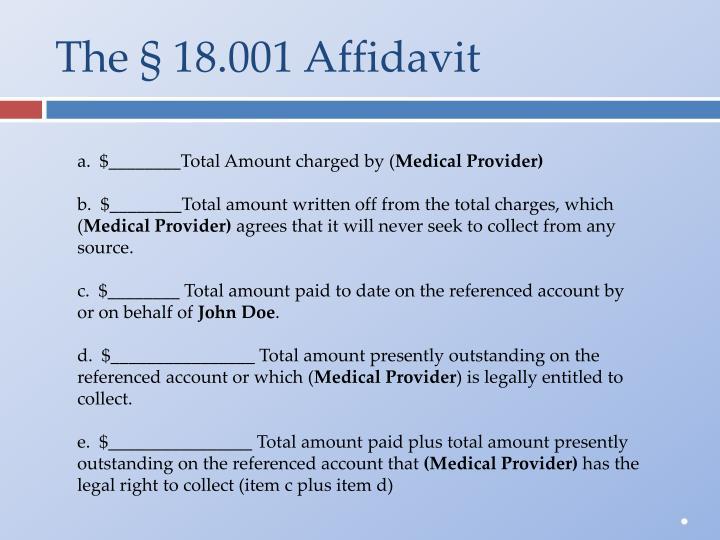 The § 18.001 Affidavit