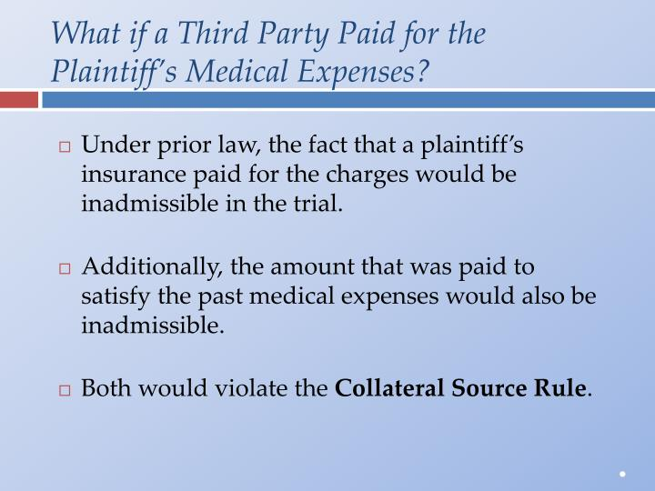 What if a Third Party Paid for the Plaintiff's Medical Expenses