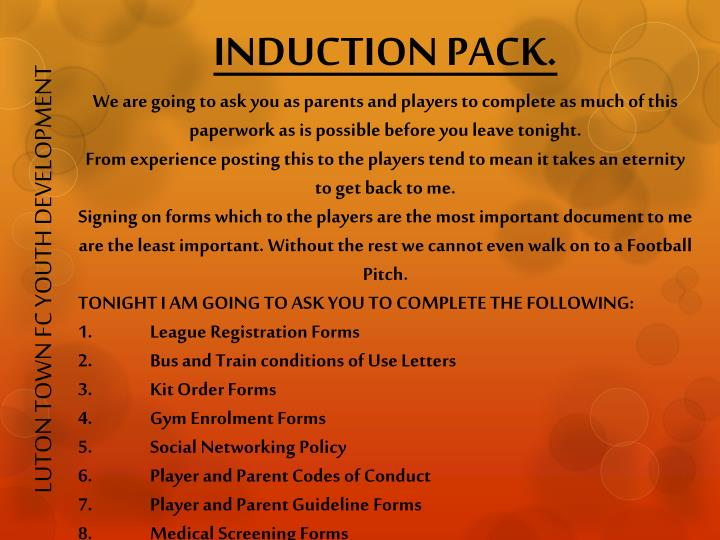 INDUCTION PACK.