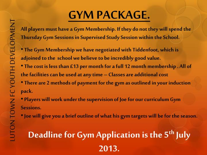 GYM PACKAGE.