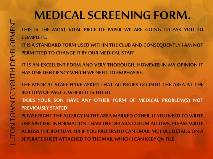 MEDICAL SCREENING FORM.