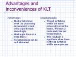 advantages and inconveniences of klt