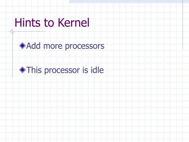 Hints to Kernel