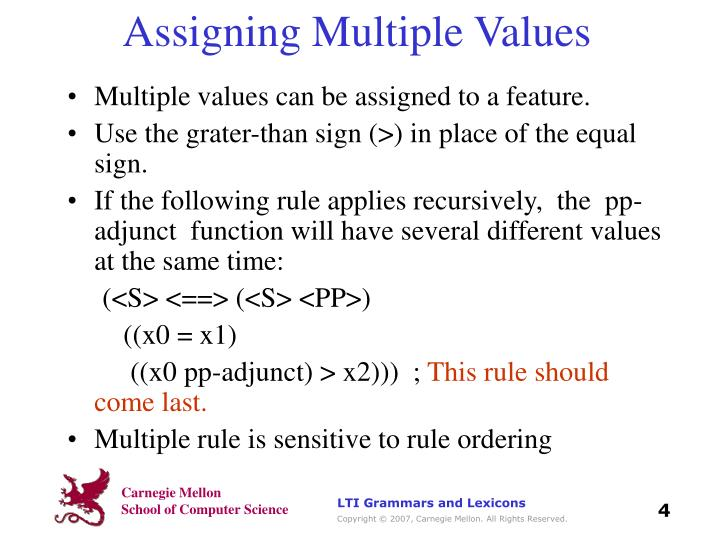 Assigning Multiple Values