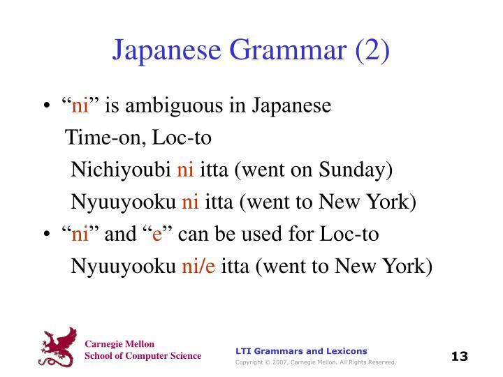 Japanese Grammar (2)