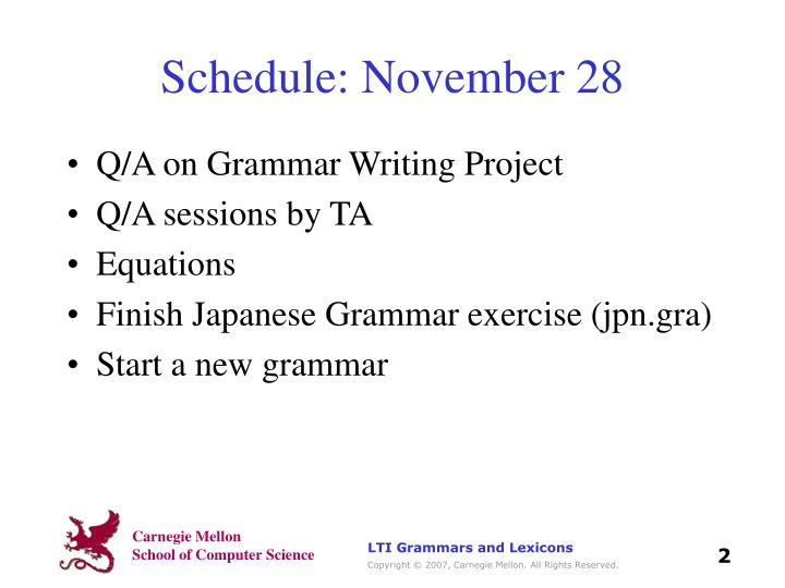 Schedule: November 28