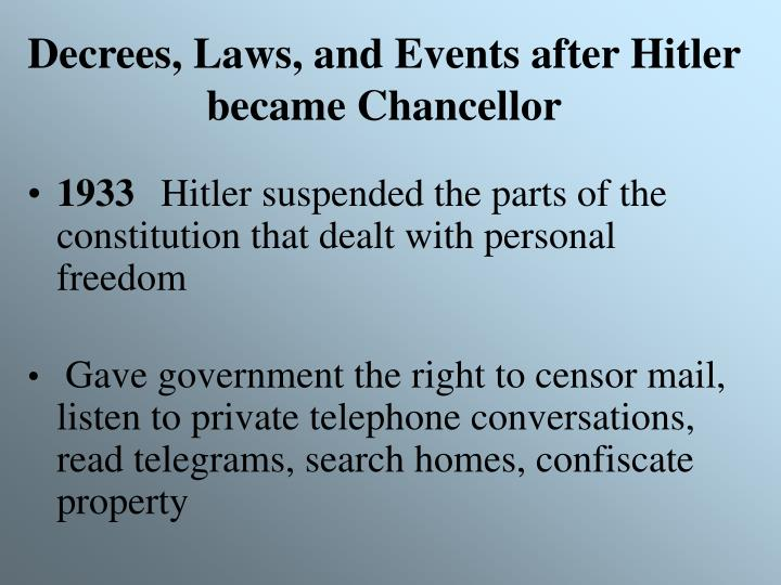 Decrees, Laws, and Events after Hitler became Chancellor