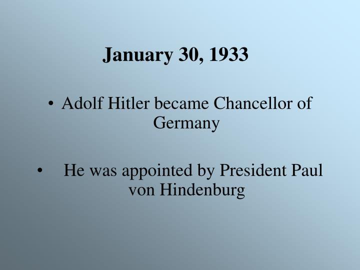January 30, 1933