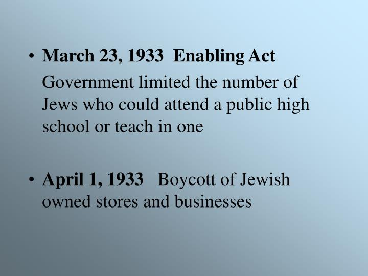 March 23, 1933  Enabling Act