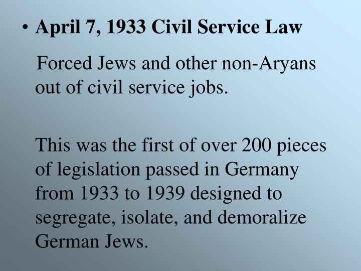 April 7, 1933 Civil Service Law