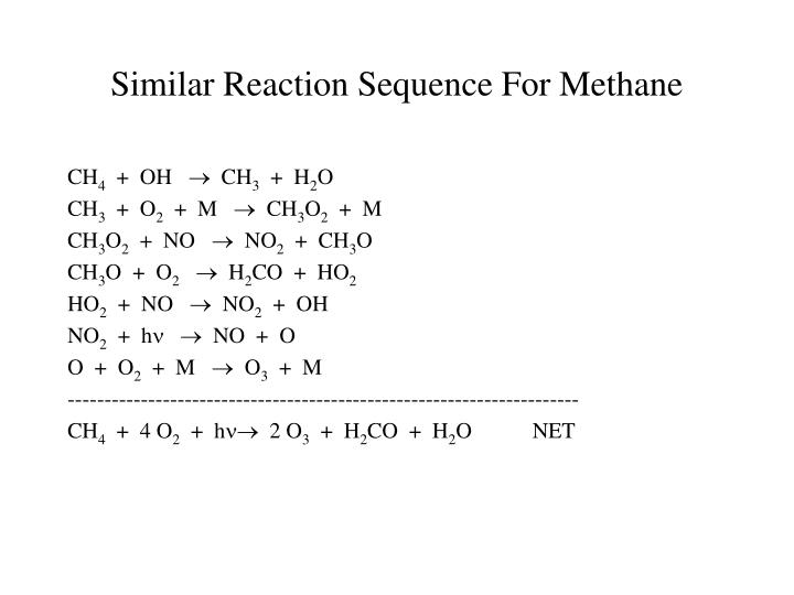 Similar Reaction Sequence For Methane