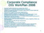corporate compliance oig workplan 2008