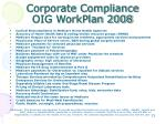 corporate compliance oig workplan 20081