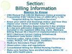 section billing information