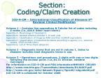 section coding claim creation
