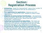 section registration process