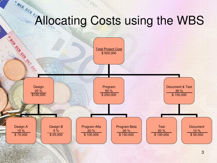 Allocating costs using the wbs