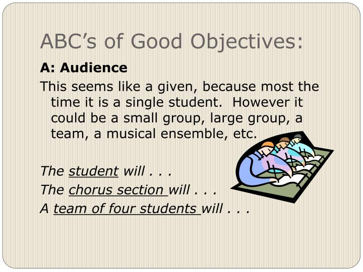 ABC's of Good Objectives: