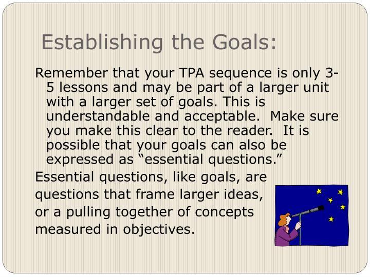 Establishing the Goals: