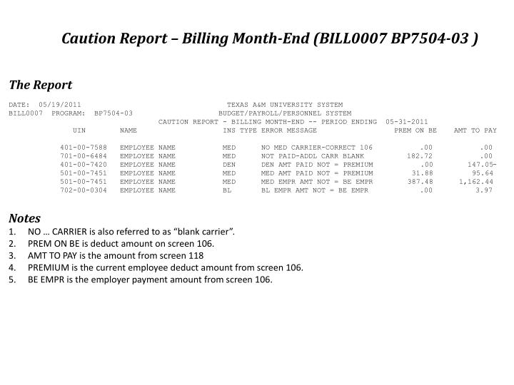 Caution Report – Billing Month-End (BILL0007 BP7504-03 )