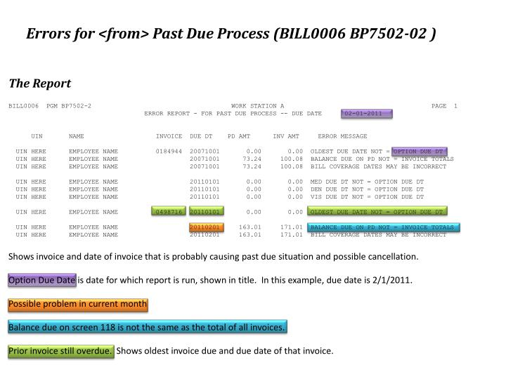 Errors for <from> Past Due Process (BILL0006 BP7502-02 )
