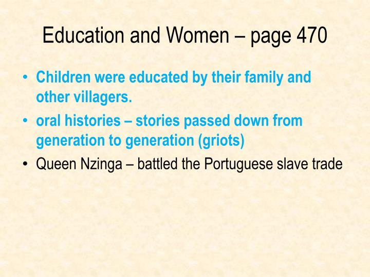 Education and Women – page 470