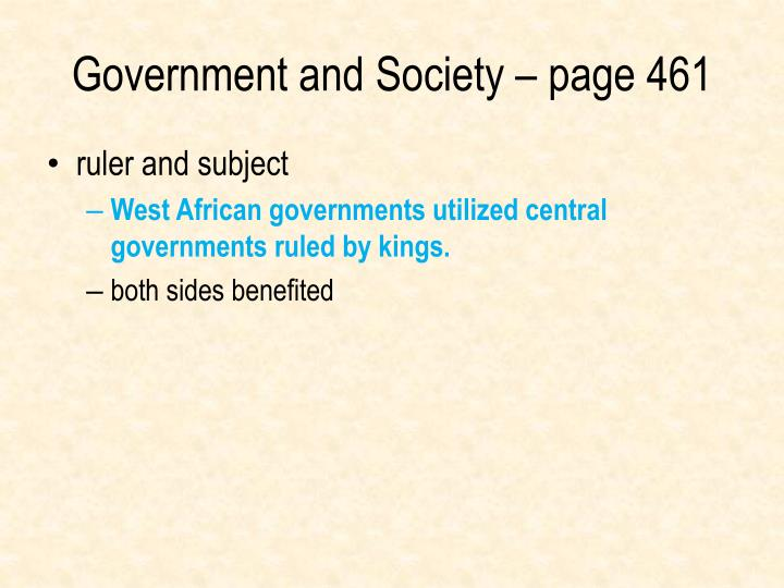 Government and Society – page 461