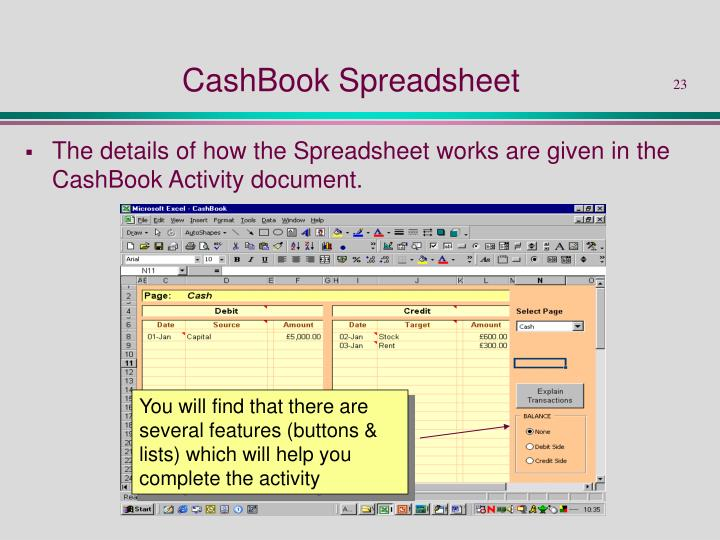 CashBook Spreadsheet