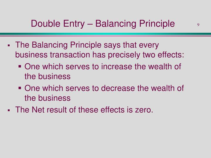 Double Entry – Balancing Principle