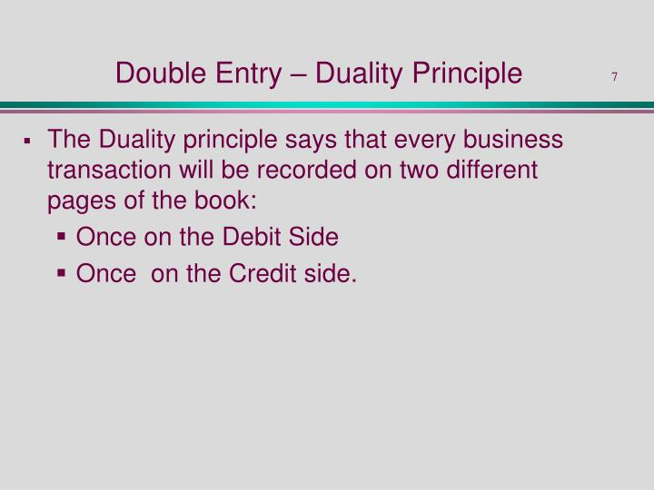 Double Entry – Duality Principle