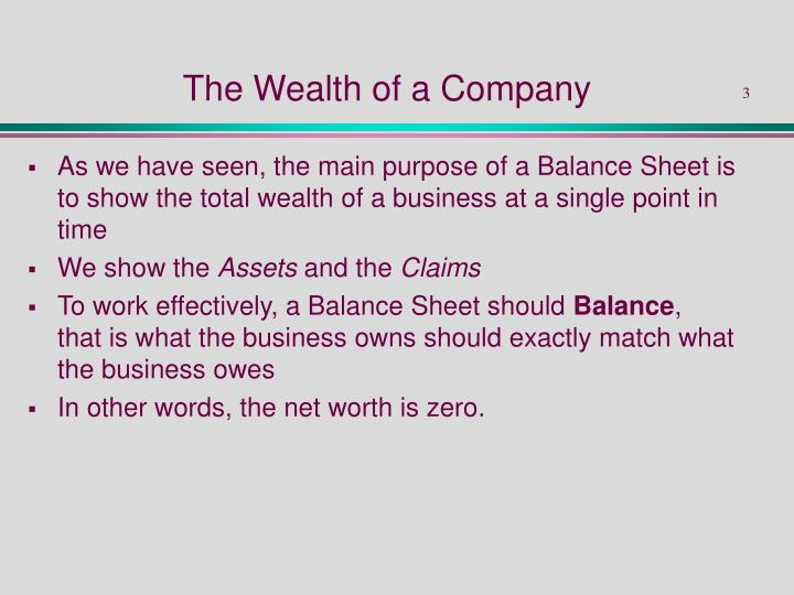 The Wealth of a Company