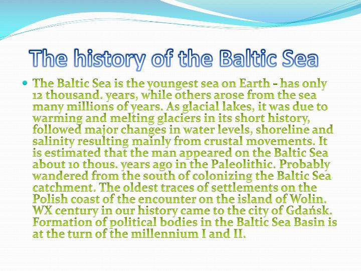 The history of the Baltic Sea