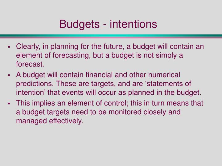 Budgets - intentions